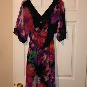 Watercolor flowers dress Lace trim